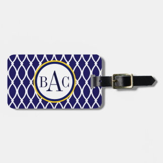 Navy Blue Monogrammed Barcelona Print Tag For Luggage