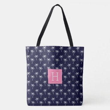 Beach Themed Navy Blue Monogrammed Palm Trees Pattern Tote Bag