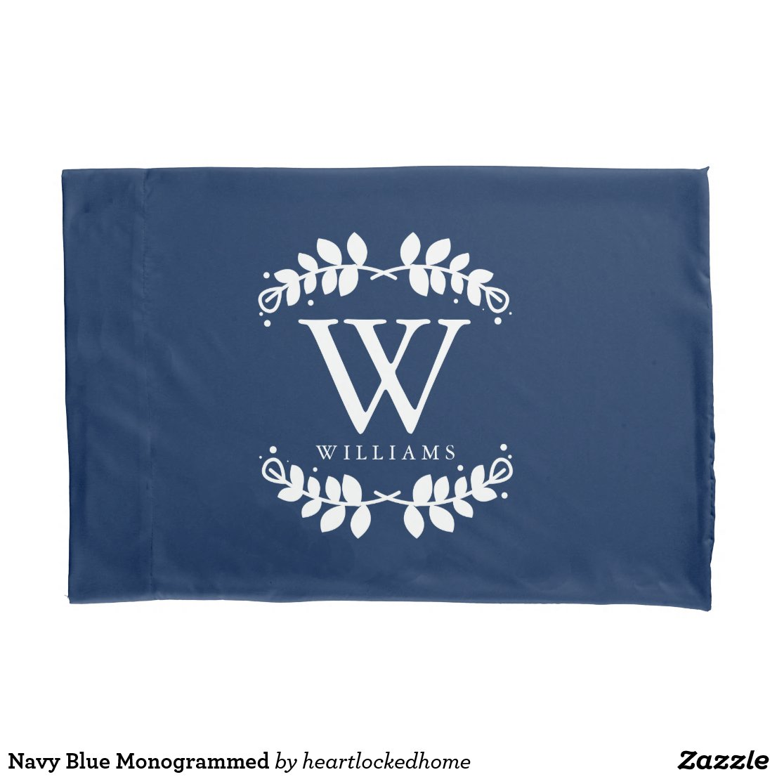 Navy Blue Monogrammed Pillow Case