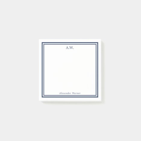 Navy Blue Monogrammed Post-it Notes