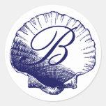 Navy Blue Monogrammed Sea Shell Sticker