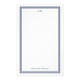 Navy Blue Monogrammed Stationery
