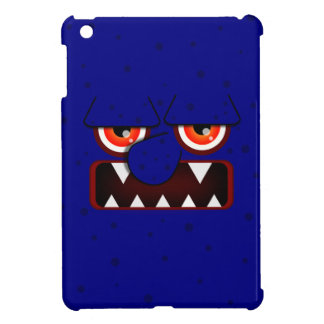 Navy Blue Monster Face, Big Nose Sharp Fangs iPad Mini Cover