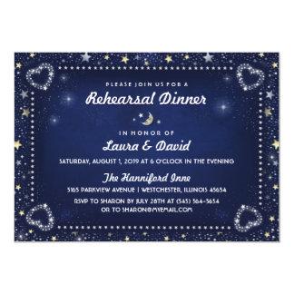 Navy Blue Moon Stars Gold & White Rehearsal Dinner Card
