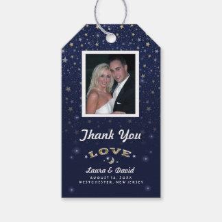 Navy Blue Moon & Stars LOVE Wedding Custom Photo Gift Tags