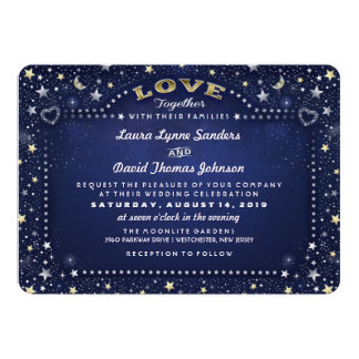 Navy Blue Moon Stars Together with Families Invite