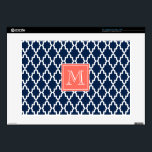 "Navy Blue Moroccan Coral Monogram 15&quot; Laptop Skin<br><div class=""desc"">A navy blue and white moroccan inspired pattern with a coral orange monogram square to customize with your initial.</div>"
