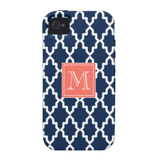 Navy Blue Moroccan Coral Monogram Vibe iPhone 4 Case