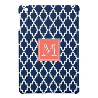 Navy Blue Moroccan Coral Monogram Case For The iPad Mini