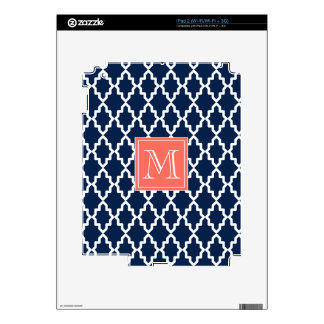 Navy Blue Moroccan Coral Monogram Decals For The iPad 2