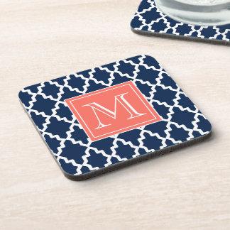 Navy Blue Moroccan Coral Monogram Drink Coaster