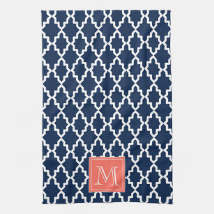 Navy Blue Moroccan Coral Monogram Kitchen Towel