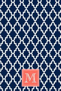 Navy Blue Moroccan C Monogram Kitchen Towel