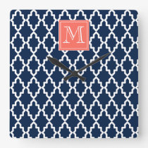 Navy Blue Moroccan Coral Monogram Square Wall Clock