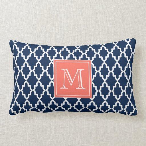 Navy Blue Moroccan Coral Monogram Throw Pillows Zazzle