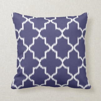 NAVY BLUE Moroccan Ikat Pattern Throw Pillow