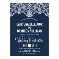 Navy Blue Moroccan Lace Pattern Wedding Invitation (<em>$1.95</em>)