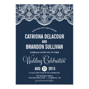 Navy Blue Moroccan Lace Pattern Wedding Invitation 5