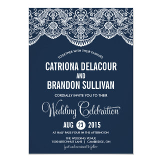 Navy Blue Moroccan Lace Pattern Wedding Invitation