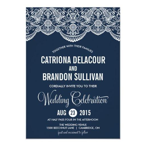 Navy Blue Moroccan Lace Pattern Wedding Invitation