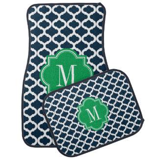 Navy Blue Moroccan Pattern with Green Monogram Car Floor Mat