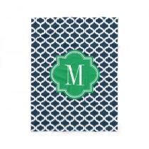 Navy Blue Moroccan Pattern with Green Monogram Fleece Blanket