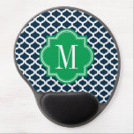 "Navy Blue Moroccan Pattern with Green Monogram Gel Mouse Pad<br><div class=""desc"">Design by Pastel Crown.</div>"