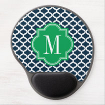 Navy Blue Moroccan Pattern with Green Monogram Gel Mouse Pad