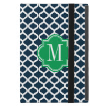 Navy Blue Moroccan Pattern with Green Monogram iPad Mini Covers