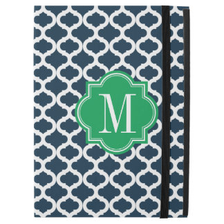 """Navy Blue Moroccan Pattern with Green Monogram iPad Pro 12.9"""" Case"""