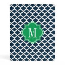 Navy Blue Moroccan Pattern with Green Monogram Mini Binder
