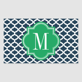 Navy Blue Moroccan Pattern with Green Monogram Rectangular Sticker