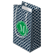 Navy Blue Moroccan Pattern with Green Monogram Small Gift Bag