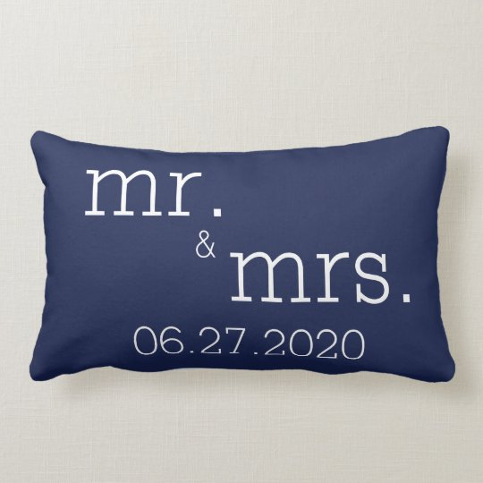 Navy Blue Mr And Mrs Modern Wedding Pillows Zazzle