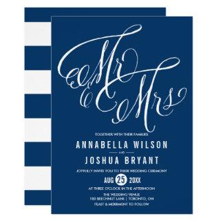 Navy Blue Mr. & Mrs. Elegant Script Wedding Invitation