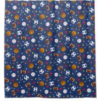 Navy Blue Multi Sports Balls Printed Shower Curtai Shower Curtain