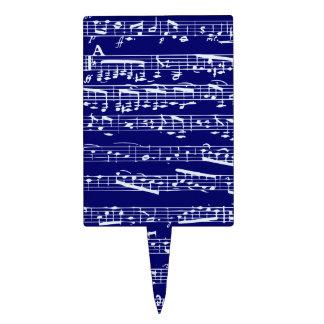 Navy blue music notes rectangular cake pick