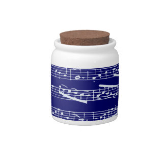 Navy blue music notes candy dish