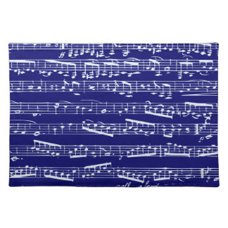 Navy blue music notes placemats