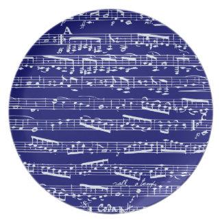 Navy blue music notes dinner plates