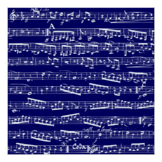 Navy blue music notes poster