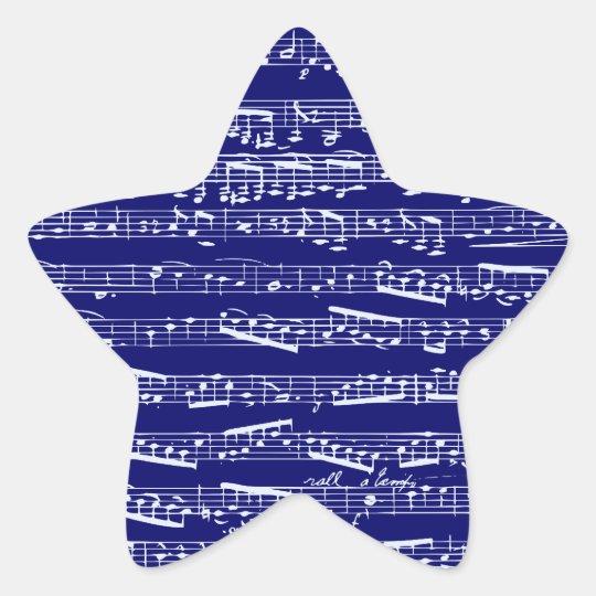 Navy blue music notes star sticker