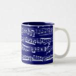 Navy blue music notes Two-Tone coffee mug