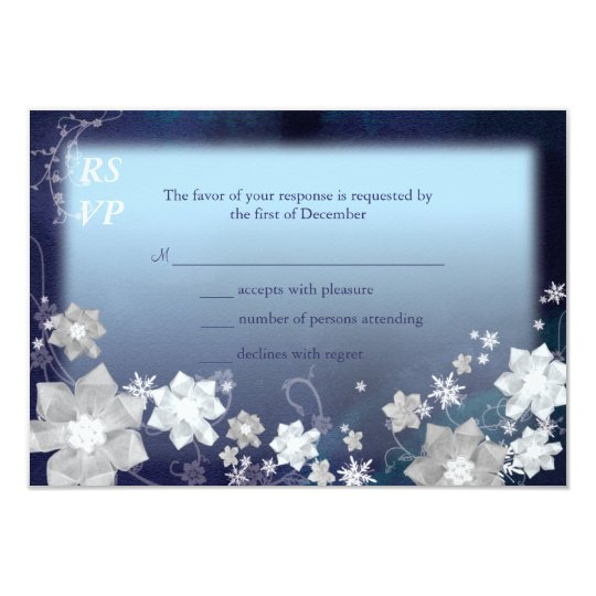 Navy Blue n White Floral Winter Wedding RSVP Card
