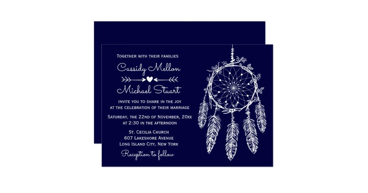 Native American Wedding Invitations: Navy Blue Native American Dream Catcher Wedding Invitation