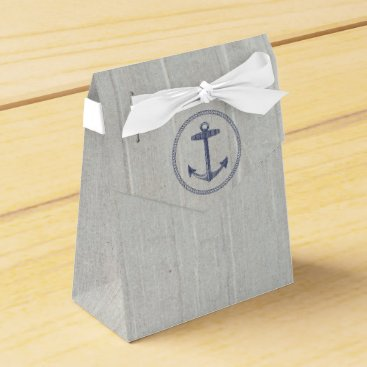 Beach Themed Navy Blue Nautical Anchor and Weathered Wood Favor Box