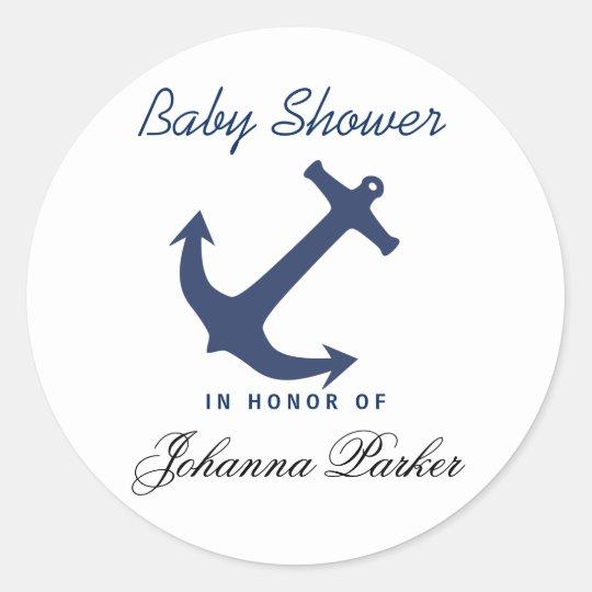 Navy Blue Nautical Anchor Baby Shower Classic Round Sticker Zazzle Com