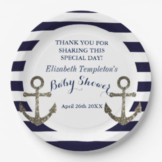 Navy Blue Nautical Anchor Baby Shower Paper Plate
