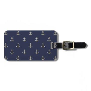 Navy blue nautical anchor bag tag