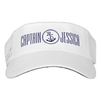 Navy Blue Nautical Anchor & Blue Wreath Headsweats Visor